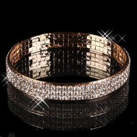 Wholesale Gold Plated Bangle Earrings - Gold Plated 3 Rows Rhinestone Stretch Bangle Bracelets For Evening Party Prom Dresses Bridal Jewelry Luxury Wedding Accessories Bracelet