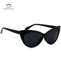 Wholesale Tip Pointed Vintage Sunglasses - Wholesale-QUEEN COLLEGE Hot Tip Pointed Vintage cat eye sunglasses Women Inspired Sexy Mod Chic Rtro Brand sun glasses UV400 QC0170