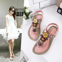 Wholesale Pink Suede Wedges - Summer Bohemia Flip Flops Women sandals gem Comfortable Seaside Breathable ladies flat Soft bottom Woman Shoes 35-45