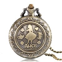 Wholesale Antique Ladies Pocket Watch Chain - Wholesale Vintage Quartz Pocket Watch Fashion Cut Flower Alice in Wonderland Women Ladies Girls Necklace Pendant Chain Watch Jewelry