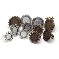 Mixed Adjustable Ring Bases Blanks Cabochon Anneaux Réglages Antique Metal Zinc Alloy Jewelry Ring Set 11pcs / lot 8054