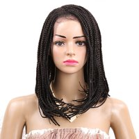 Wholesale Cosplay Wigs Accessories - Top selling 16inch cosplay short wigs for black women synthetic braiding twist wig crochet Synthetic lace front wigs box braids