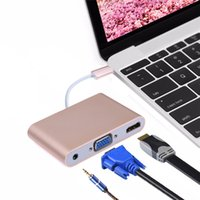 Alta qualità Tipo C USB 3.1 maschio a HDMI VGA Adattatore femmina 3.55 interfaccia audio per Macbook 12 '' Notebook
