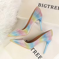 Wholesale Sexy Bling Shoes - Women Rainbow Colors Fashion Pointed Toe Pumps 2017 Hot Sale Bling PU Leather Shallow Slip-On Shoes Party Shoes Sexy High Heel Pumps A004