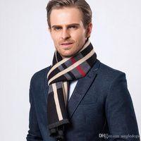 Wholesale Mens Warm Wraps - Vintage Mens Plaid Scarves Cashmere Black Long Scarves 30*180CM Business Gift Winter Casual Warm Wraps With Top Quality