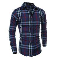 Wholesale Male Shirt Fashion Models - Wholesale- 2017 New Men Dress Shirt Fashion Plaid Shirts 8 Models Long Sleeve Casual Shirt Men Slim Male Striped Tuxedo Camisa Masculina