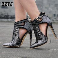 Wholesale Large Size Sexy High Heels - ZZYJ large size sexy women's high heels Roman buckle rivets alligatoring spring summer Hollow high heels sandals shoes bootie C8325