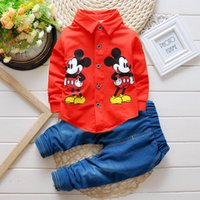 Wholesale Childern Clothes - Wholesale- 2016 spring fashion childern cartoon t-shirt+denim trousers clothing set baby boys minnie mouse clothes tracksuit kids outfits