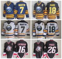 Wholesale vintage pat - Cheap 7 Rick Martin Jersey Men Buffalo Sabres Vintage CCM Hockey Jerseys Stitched 16 Pat LaFontaine 18 Danny Gare 26 Thoma Vanek