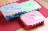Wholesale Dish Child - 9jr1 Foldable Silicone Lunch Box Silica Gel Children Meal Boxes High Temperature Resistance Food Grade Dinner Bucket Bottom Skid R