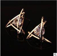 Wholesale Diamond Square Stud Earring - Delicate triangle inlay zircon crystal big diamond stud earrings Square zircon earrings three colors two styles