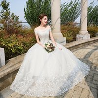 Wholesale Sweet Princess Bride Wedding Dress - Wedding Dresses 2017 The Bride Elelgant Short Sleeve Sweet Boat Neck Classic Lace Embroidery Princess Illusion Ball Gown F