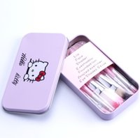 Wholesale Hello Hair Kitty - Brand Hello Kitty 7 Pcs Mini Makeup Brush Set Pink Cosmetics Kit De Pinceis De Maquiagem Make Up Brushes Kit with Metal Box