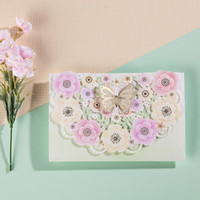 Atacado-Laser Cut 3D flor de borboleta design Pink Color Wedding Invitation Card