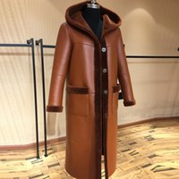 Wholesale Real Fur Pieces - Winter New Women Fashion Long Real Leather Fur Coat with Cap