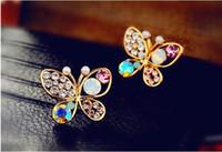 Wholesale silver earing studs - Stud Earrings Gold Crystal Pearl Earrings Woman fully-jewelled Pearl earrings eardrop Earing Hollow out Rhinestone multicolour butterfly