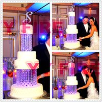 """Wholesale Square Acrylic Cake Stands - 2Tier Crystal Chandelier Cake Stand Round or Square- 8"""" & 10"""" adorned with sparkling acrylic crystals and tear drop pendants"""