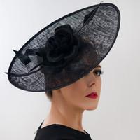 ingrosso accessori da fiore per cappelli-Donna Kentucky Derby Cappelli Fiore Cambric Bridal Hat Wide Brim 3 Colori Wedding Headwear Fashion Head Accessories Cappelli formali