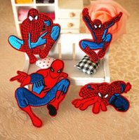 Wholesale Spiderman Embroidered - Iron On Patch Spiderman DIY Embroidered Patches Sew On Stickers Patches 8pcs Lot