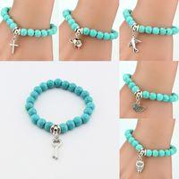 Wholesale European Bead Key Ring - Hot Women Lady Girl Trendy Beads Cross Key Owl Elephant Stainless Steel Pendents Bracelet Fashion Jewelry