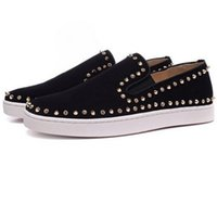 Wholesale Flat Laps - 2017 New Design Men and Women Shoes Lap Rhinestone Rivets Red Bottom Low Up Flat Sneakers Lovers Couple Sheepskin Slip -on Skateboard Shoe