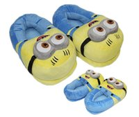 Wholesale Despicable Minions Plush Slippers - 3D minions slippers woman 30*15CM Winter Warm slippers Despicable Minion Stewart Figure Shoes Plush Toy Home Slipper One Size Doll