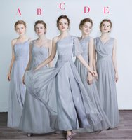 Moda Chiffon Abiti da damigella d'onore diverse scollature Sud Africa Increspato Graceful Beach Bridesmaid Dress Grigio Abiti del partito economici