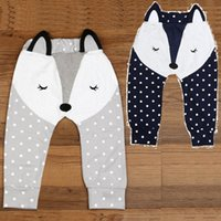 Wholesale Navy Girl Leggings - Hooyi Fox Baby Boys Pants Polka Dot Newborn PP Panties Grey Navy Bebe Clothing Trouser Cotton Leg Warmer Girl Tights Underpant Leggings