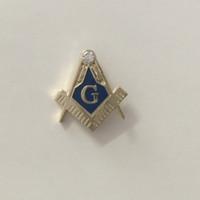 Wholesale Square Brooch - Masonic Freemason Lapel Pin Blue Lodge Clutch back Square and Compass Gold Rhinestone Compasses free masons pins badge