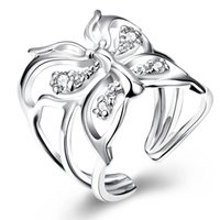 Wholesale Mark Side - Classic Butterfly 925 Silver Ring Pretty With Zircon Finger Rings Size Adjustable For Women New Fashion Mark 925 Jewelry r035