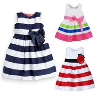 Wholesale Stripe Skirt Vest Dress - Girls Vest Dresses Summer Stripe Print Bow Baby Clothes Fashion Kids Clothing Party European Children Skirts Toddler