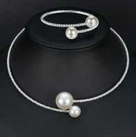 Marque Simple Simulated Pearl Bridal Jewelry Sets Crystal Fashion Wedding Jewelry Collier Bracelet Sets pour les femmes