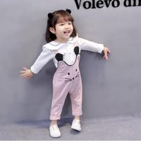 Wholesale female suit fashion - New fashion female baby strap pants suit autumn 0-1-2-3 year old girl long sleeve baby children's clothing two-piece