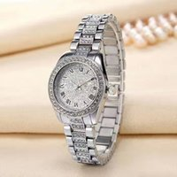 Wholesale Roman Crystal - Fashion beautiful Ro Brand Women's Girl crystal Roman numerals dial stainless steel band Quartz calendar Date watch R13