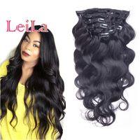 pelo de la onda del cuerpo de 24 pulgadas al por mayor-Indian Clip In Extensions 7Pcs / lot Clip de cabello humano 12-28 pulgadas Clip de extensión de cabello humano Natural Wave de Color