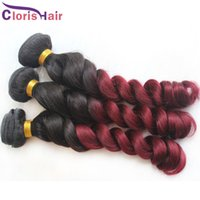 Wholesale curly human hair for weaving resale online - Burgundy Weave Ombre Brazilian Hair Loose Wave Human Hair Bundles Two Tone b j Curly Ombre Hair Extensions For Sale