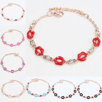 Wholesale red lips bracelet for sale - Lips Shape crystal Bracelets For Women Classic High Quality birthstone Crystal Bracelet Fashion Brand Rhinestone jewelry