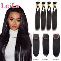insan saçı üç parçalı kapanır toptan satış-Brezilyalı Düz Saç 4. Paketler ile Dantel Kapatma İpeksi İnsan Saç Doğal Renk Ücretsiz Orta Üç bölüm Dantel Kapatma 5 adet / lot
