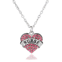 Wholesale Nurses Wholesale Gifts - Wholesale-3 Colors Fashion Women Lady Rhinestone Crystal Heart Engraved Nurse Pendant Necklace Student Hospital Worker Jewelry Gift Choker