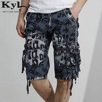 Wholesale yellow cargo shorts mens - Wholesale- Fashion Cargo Shorts Mens Casual Camo shorts thin cool Cotton loose large code men with long short Multi Pocket Baggy shorts