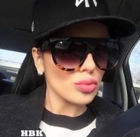 ingrosso occhiali da cucina-All'ingrosso-HBK Oversize Vintage Kim Kardashian Occhiali da sole stile donna Design di marca Vintage Square Occhiali da sole Oculos De Sol Feminino Ombra