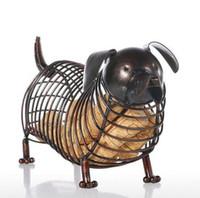 estilo de tallas de metal al por mayor-Metal Figuras de Animales Dachshund Vino Corcho Contenedor Moderno Arte de Hierro Artificial Decoración Del Hogar Accesorios de Regalo