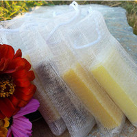 Wholesale foam sponges - Wholesale-10pcs lot Soap blister mesh double-layer soap net Foaming Net easy bubble mesh bag