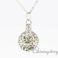 Wholesale Gold Lock Necklace - ball metal volcanic stone essential oil diffuser necklace lock necklace gold lockets for sale diffusing necklaces openwork necklaces