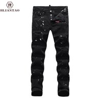 Wholesale Trousers Winter Size Xl - Wholesale- New Arrival Hliantao Autumn Winter Jeans Men Causal Fashion Trouser Denim Pants Male Patchwork Hole Jeas 1850