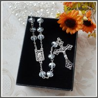 Beaded Necklaces oxidized silver jewelry - Comes with Gift Box Catholic mm Transparent Crystal Rosary Necklace Oxidized Cross Pendant Glass Rosary Jewelry Birthday Presents