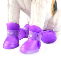 Wholesale 2 Pair Dog Rain Shoes Snow proof Booties Environmental Dog Cat Rain Shoes Harmless Durable Magic Tape Design Household Supplies B