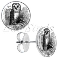 Wholesale Stainless Steel Earring Owl - 50pcs lot Stainless Steel Black White Owl Ear Stud Earrings Fake Plugs Diameter 10mm*16g ZCST-045