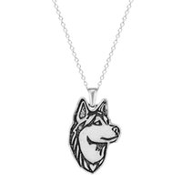 Al por mayor-One Pieces Colgante collar Siberian Husky Jewelry colgante y collar. Ideal para todos los perros