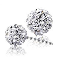Wholesale Shambhala Rhinestone Charms - 925 sterling silver Stud Shambhala earrings jewelry charm simple 6 8 10 12 mm ball earrings
